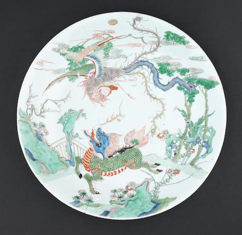 A large famille verte, saucer dish Kangxi