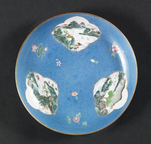 A famille rose, circular dish Qianlong six-character mark