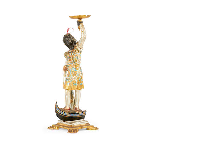 A small 19th century Venetian carved wood gondolier figure