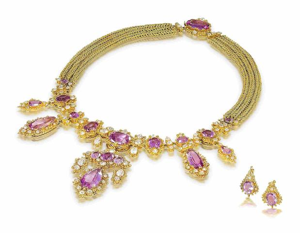 A gold cannetille, pink topaz and diamond demi-parure, (3)