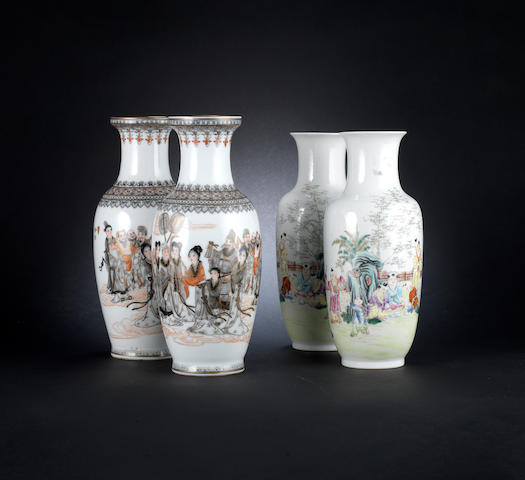 Two pairs of enamelled vases