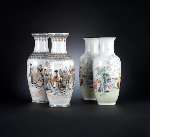 Two pairs of enamelled vases - Qianlong and Hongxian marks