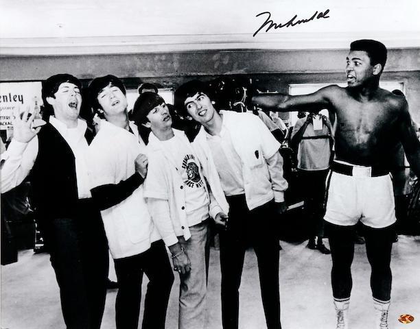 Muhammad Ali/Beatles print hand signed by Ali