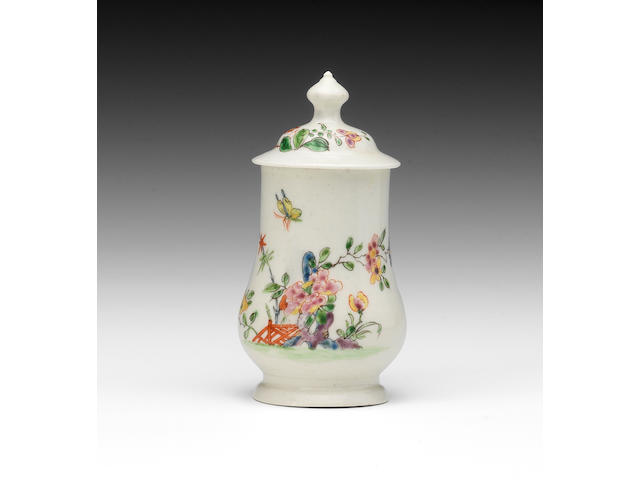A very rare and fine Worcester dry mustard pot and cover, circa 1752