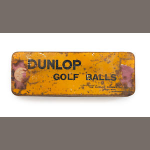 A yellow Dunlop Golf Balls tin circa 1920s