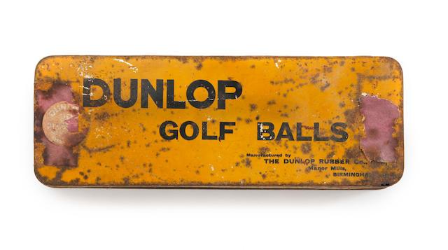 A yellow Dunlop Golf Balls tin circa 1920s