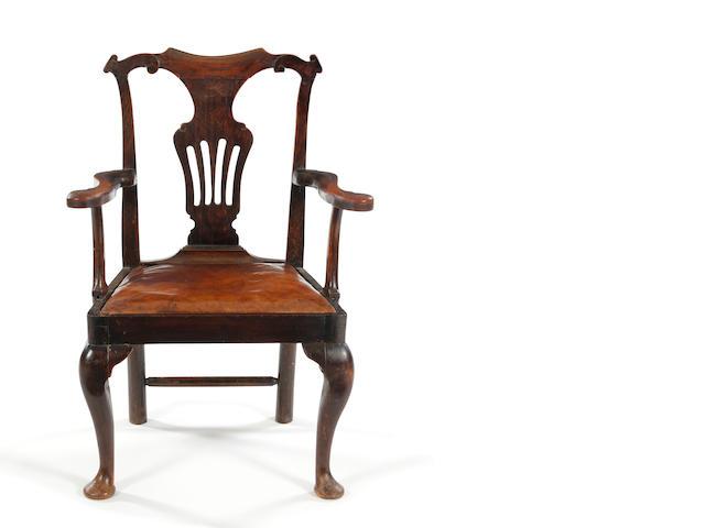 Oak open armchair