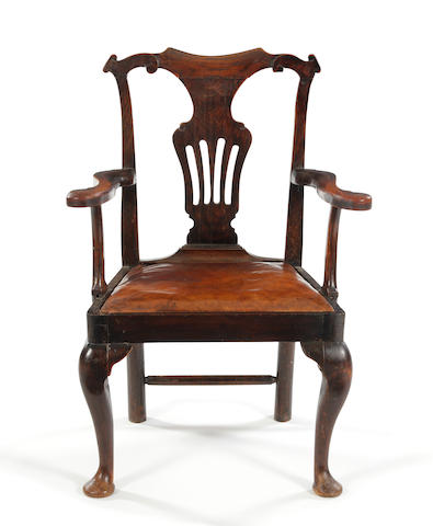 Oak open armchair