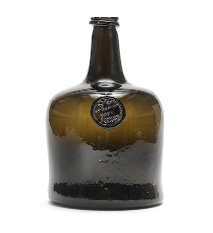 An important sealed magnum wine bottle, mid 18th century