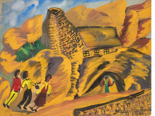 Gladys Mgudlandlu (South African, 1917-1979) Three figures walking in the hills