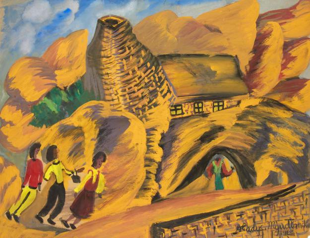 Gladys Mgudlandlu (South African, 1917-1979) Three figures walking in the hills