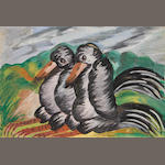 Gladys Mgudlandlu (South African, 1917-1979) Two birds