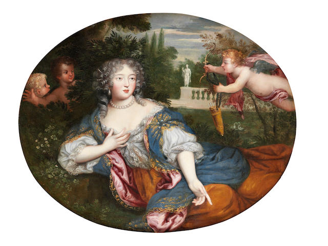 Circle of Henri Gascars (Paris 1635-1701 Rome) Portrait of a young lady, three-quarter-length, traditionally identified as the Marquise de Montespan, with two cupids
