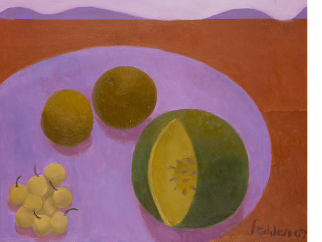 Mary Fedden R.A. (British, 1915-2012) Still Life with Melon and Red Landscape