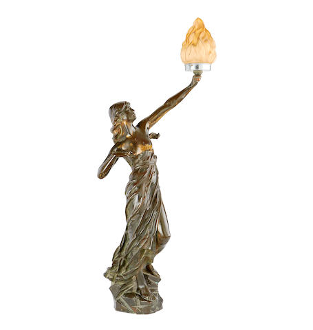 Julien Caussé, French (1869-1909) A bronze figure of a classical maiden adapted as a lamp