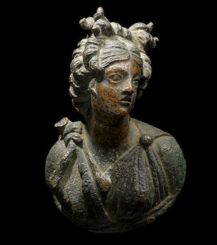 A Roman bronze appliqué bust of Artemis