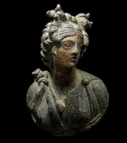A Roman bronze appliqué bust of Artemis
