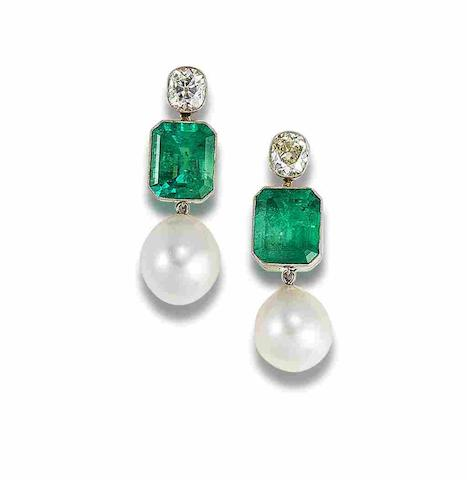 A pair of emerald, cultured pearl and diamond earrings