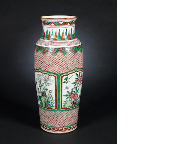 A wucai tapering sleeve vase 17th century