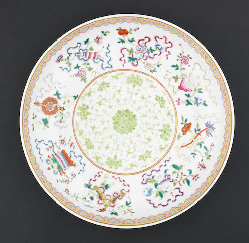 A large famille rose dish Guangxu six-character mark