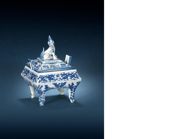 A very rare blue and white rectangular incense burner and cover Wanli six-character mark and of the period