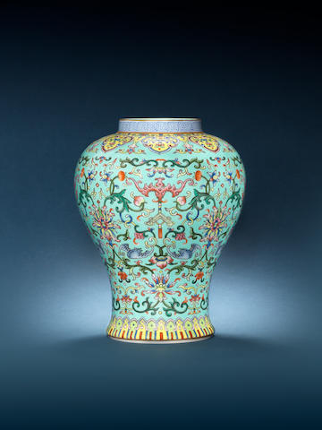 A famille rose turquoise-ground baluster vase Jiaqing seal mark and of the period