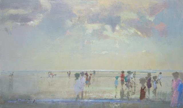 Fred Cuming (British, born 1930) Summer beach scene
