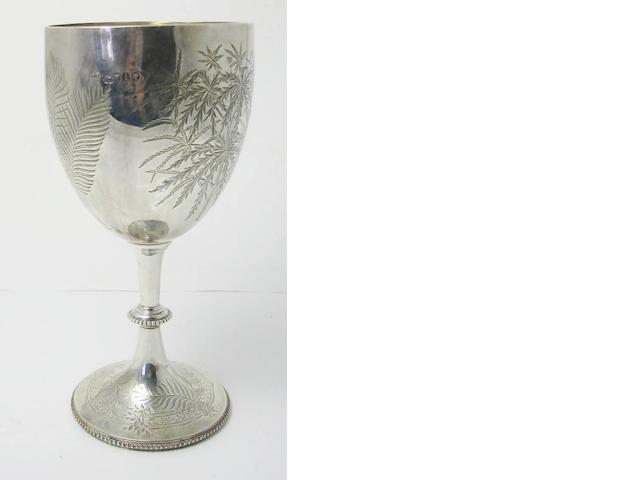 A Victorian silver goblet by Elkington & Co,  London 1876