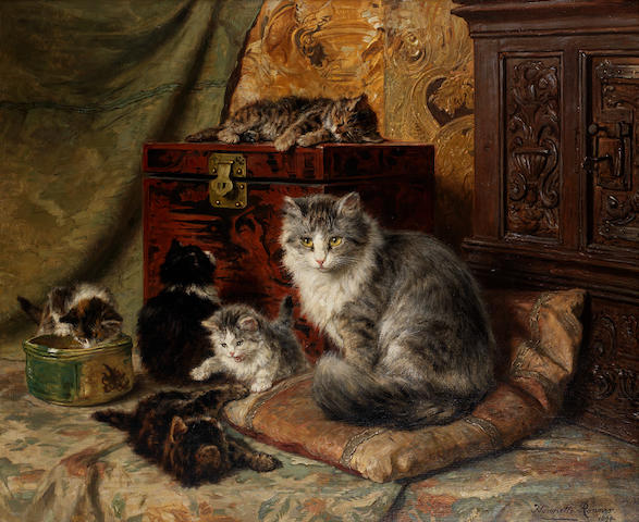 Henriette Ronner-Knip (Dutch, 1821-1909) A cat and her kittens at play