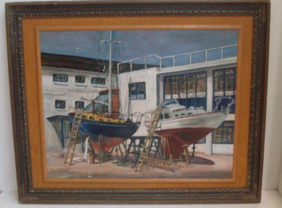 D Gwyn-Robertson A.R.C.A.  A.T.D. The Boatyard, 47 x 60cm.