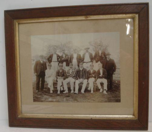 Cricketing Interest: Hampshire County C.C. 1901, black and white photographic print Stuart copyright No. 29, 21.5 x 28cm, and a print of the Surrey Eleven, 1861, both framed. (2)