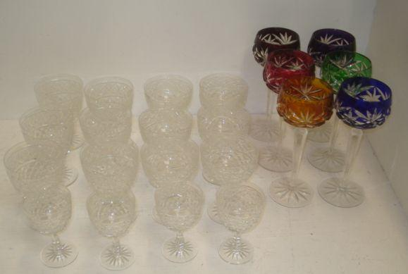 A set of six hock glasses, with cut pattern differing tinted bowls, and a part suite of Edinburgh crystal cut pattern table glass, sixteen pieces in three graduated sizes.