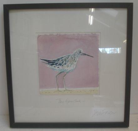 Hugh Fairfax (1958 - ) The Greenshank, watercolour with pen and ink, signed and titled in pencil on the mount, 49cm square, inscribed on a label verso, *** With The Wykeham Gallery, and Hilary Gardiner - Apple Tree at Crabwood, Limited Edition print, signed, titled, numbered and dated '86. (2)
