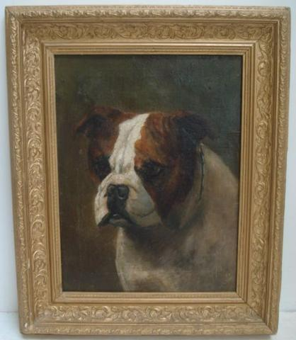 English School, circa 1900 Head of an English Bulldog, indistinctly titled, oil on canvas, 35.5 x 27cm, and three other oil paintings including - a Coastal Scene and a Still Life. (4)
