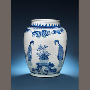 A large blue and white jar Circa 1640