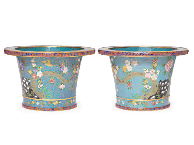 A large pair of cloisonné enamel flaring cylindrical jardinières 19th century