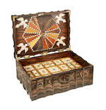 A mid 19th century Indian calamander, specimen wood, ivory and ebony inlaid workbox
