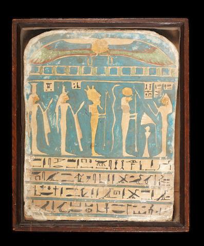 An Egyptian wood polychrome and gilt stele for Meresamun