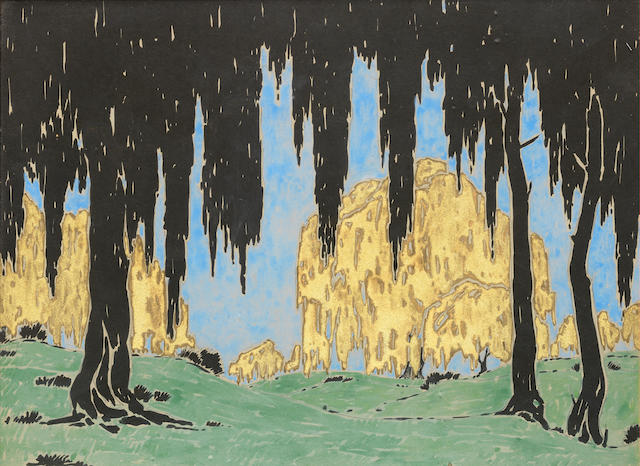 Jacob Hendrik Pierneef (South African, 1886-1957) Golden willows