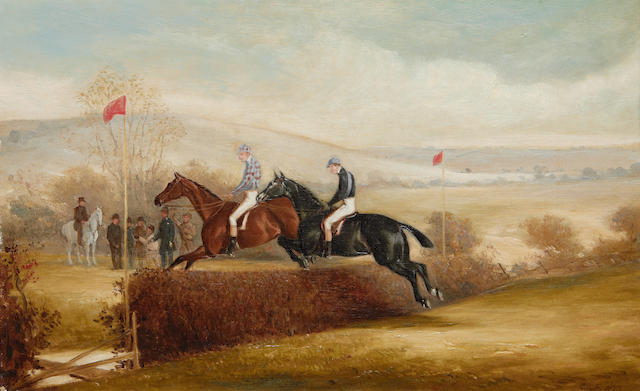 Racing Scene in oil by Claude Ferneley circa 1870