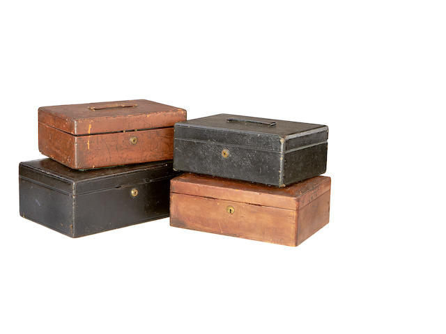A collection of four 19th century leather covered document boxes