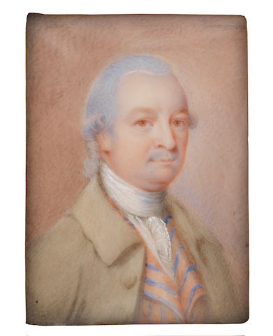 English School, circa 1785 A Gentleman, called Mr Normansill, wearing buff coat, pale blue and apricot striped waistcoat, white chemise, stock and lace cravat, his wig powdered and worn en queue