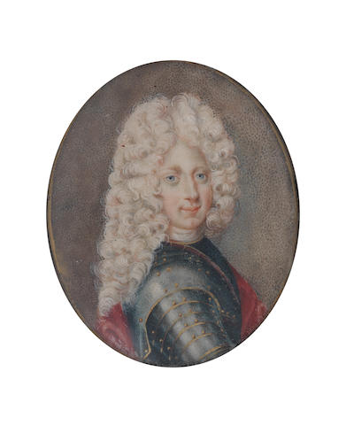 English School, 18th Century A Gentleman, possibly King George II of Great Britain and Ireland (1683-1760), wearing armour edged with gold, red mantle, white stock, his long wig powdered