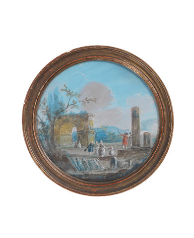 Attributed to Louis Gabriel Moreau (Paris 1740-1806) A Landscape, depicting Grand Tourists amidst Classical ruins