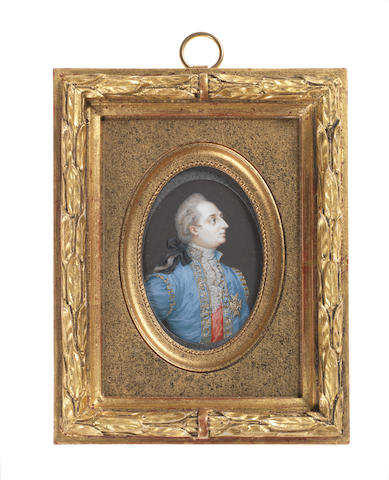 Continental School, 19th Century A royal sitter, said to be Louis XVI (1754-1793), King of France and Navarre, wearing blue coat edged with gold, red waistcoat, white chemise, stock and lace cravat, the Order of the Holy Spirit on his left breast, his wig powdered, clubbed and tied with a black ribbon bow