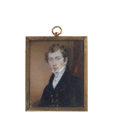 Mary A. Millington Mannin (British, circa 1800-1864) A Gentleman, wearing dark blue double-breasted coat, white chemise, stock and cravat with gold cravat pin