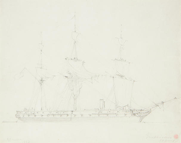 Drawing of The Impressive, 50 gun battle ship by Edward Duncan RWS (1803 – 1854)