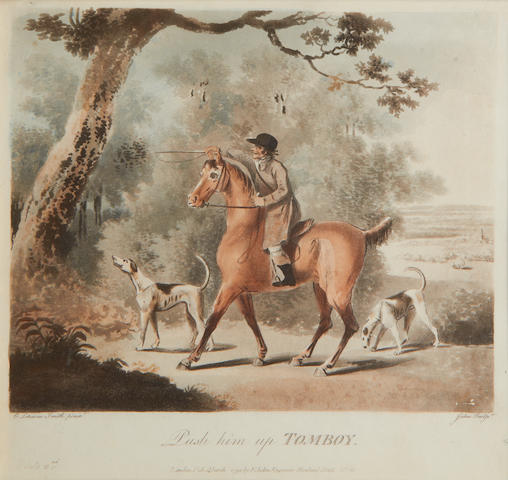 Francis Jukes (British, 1747-1812) after Charles Lorraine Smith A set of eight engravings with aquatint of The Pytchley Hunt in early or original frames with Dublin framers label verso