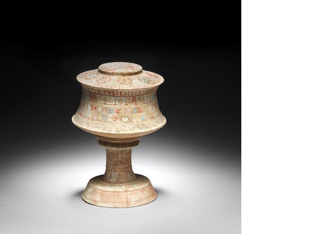 A Canosan terracotta pyxis with stand