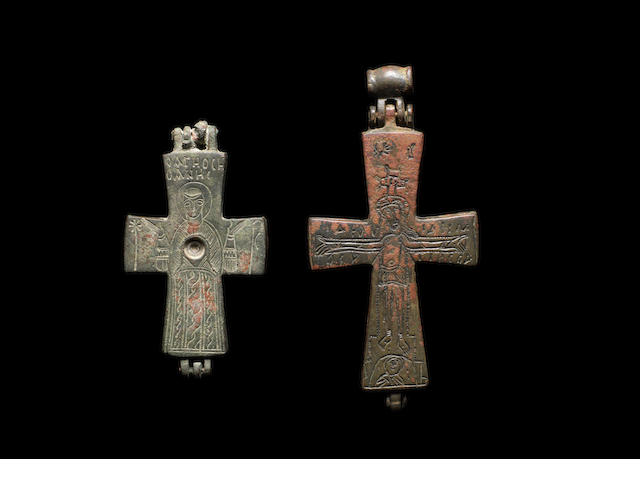 Two Byzantine bronze reliquary crosses - CHANGE EST TO £800-1200?? 2